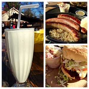 Vanilla milkshake, sausages with sauerkraut and a burger at The Pharmacy