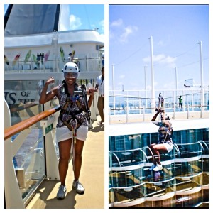 Zip lining on Oasis of the Seas!