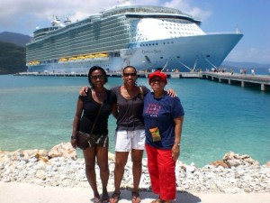 My Aunt, mother and I in Labadee, Haiti.