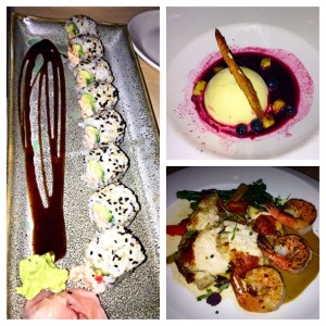 lobster sushi roll, grilled chicken and shrimp, berry semifreddo