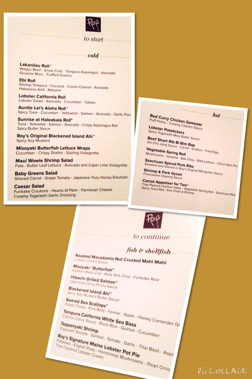 Roy's regular menu