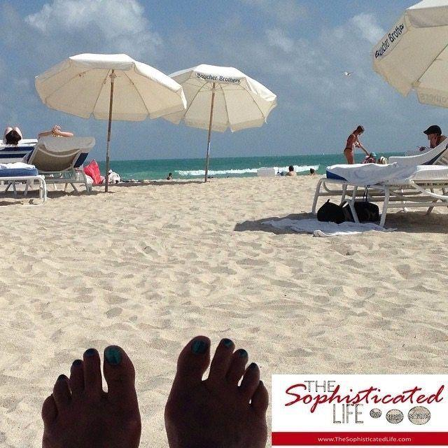 Relaxing on South Beach located on Miami Beach