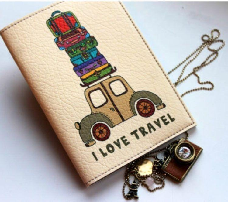 "MindMap ""I Love Travel"" leather retro car passport cover. Makes a perfect gift!"