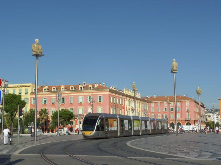 The artistic and colorful Place Massena in Nice France.