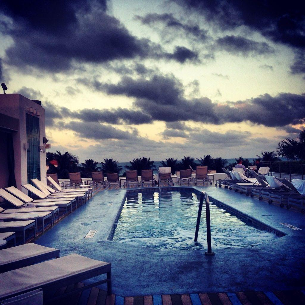 Enjoying sunset on the rooftop pool at The Hotel of South Beach