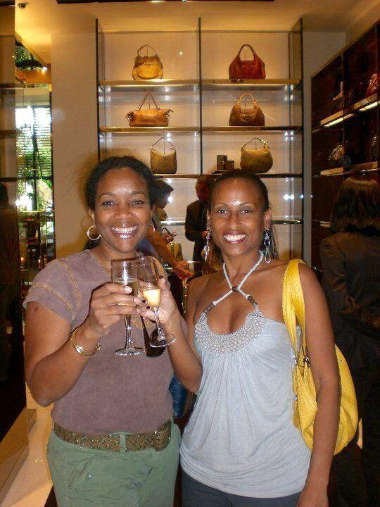 Drinking complimentary champagne in Gucci at Bal Harbour Shops in Miami Beach