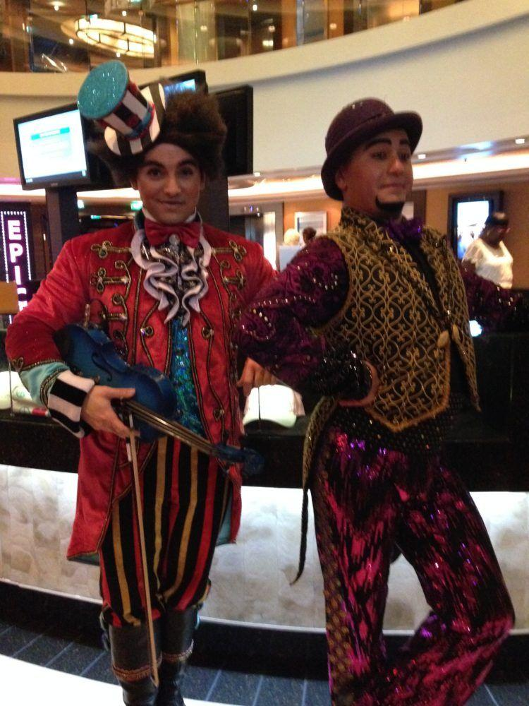 Cast members from the dinner show Cirque Dreams on Norwegian Epic cruise ship