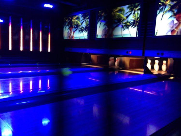 The bowling alley in Bliss Ultra Lounge on Norwegian Epic cruise ship