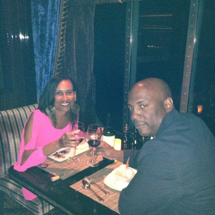 Enjoying fine dining at Cagney's Steakhouse on Norwegian Epic cruise ship!