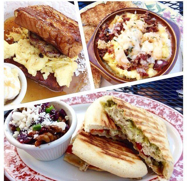 French toast sandwich, Grits stack & a chicken pesto panini at Le Petit Marche!