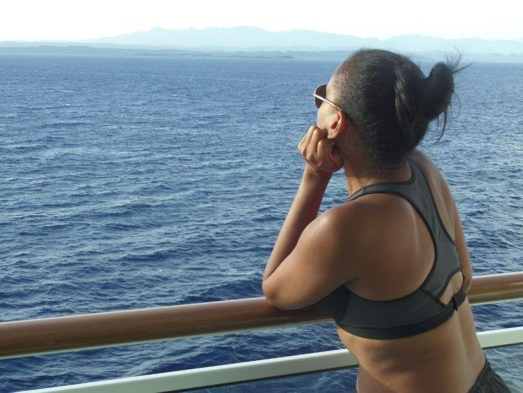Enjoying the view of the Mediterranean Sea on the cruise ship Norwegian Epic!