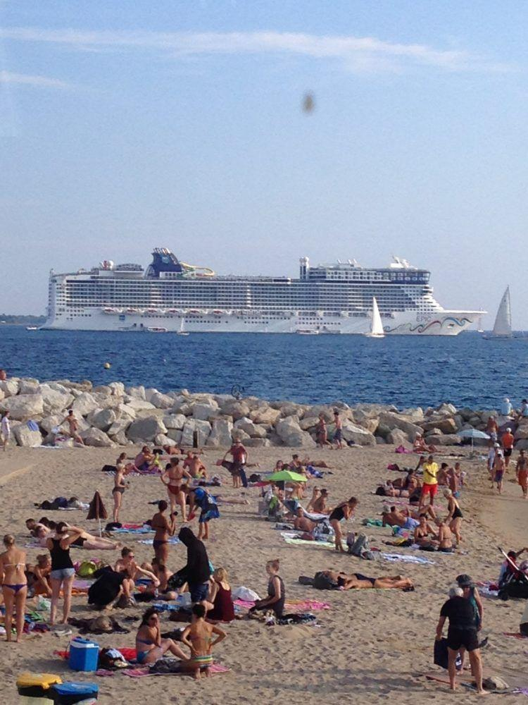 The Norwegian Epic cruise ship docked at the Port of Cannes in the French Riviera!