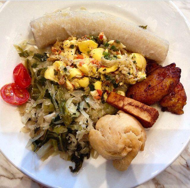 Traditional Jamaican breakfast with ackee&saltfish at Negril Village Atlanta