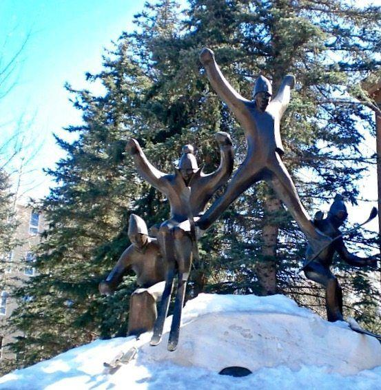 A cool sculpture of skiers in Vail Colorado