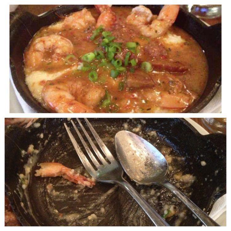 Eating in New Orleans: Shrimp & Grits at Luke restaurant.
