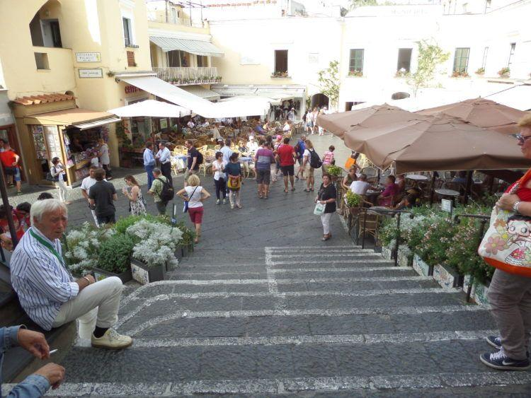 Travel to the Romantic Isle of Capri in the Gulf of Naples, Italy! Walkways and Outdoor Cafes on this romantic in Italy!