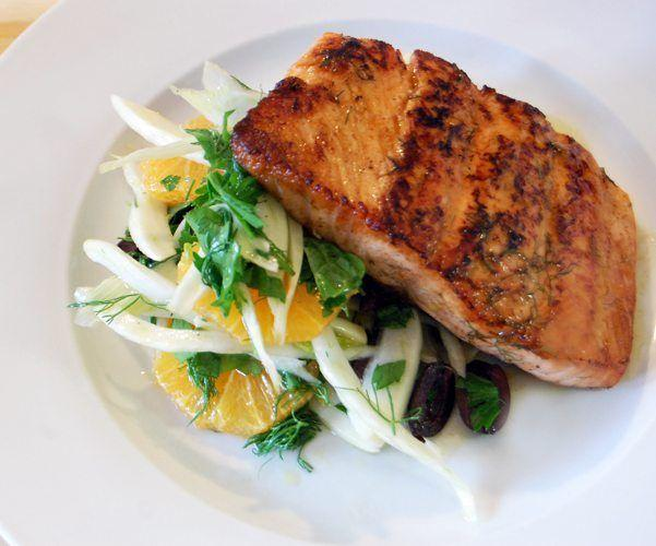 Chef Therese Nelson & Black Culinary History. Orange Glazed Salmon with Fennel Olive Salad.