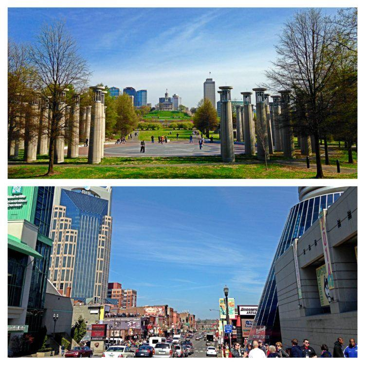 skyline and city streets of Nashville, TN