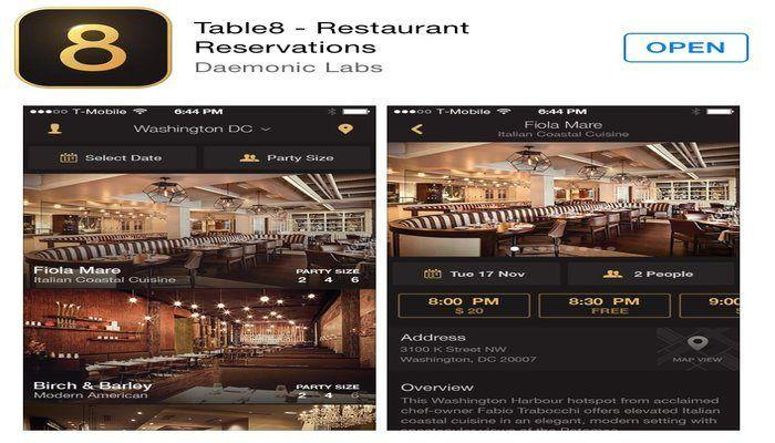 Introducing the Table 8 app for last minute restaurant reservations!