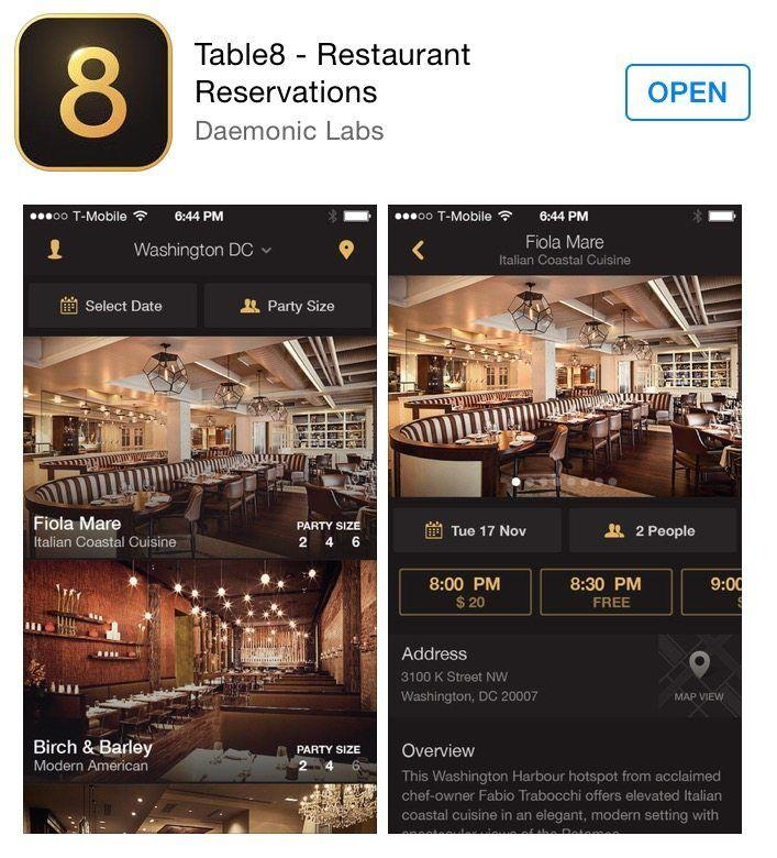 Introducing the Table 8 App! Get last minute reservations at the most sought after restaurants in the country!