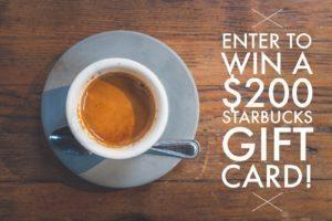 $200 Starbucks Gift Card Giveaway!