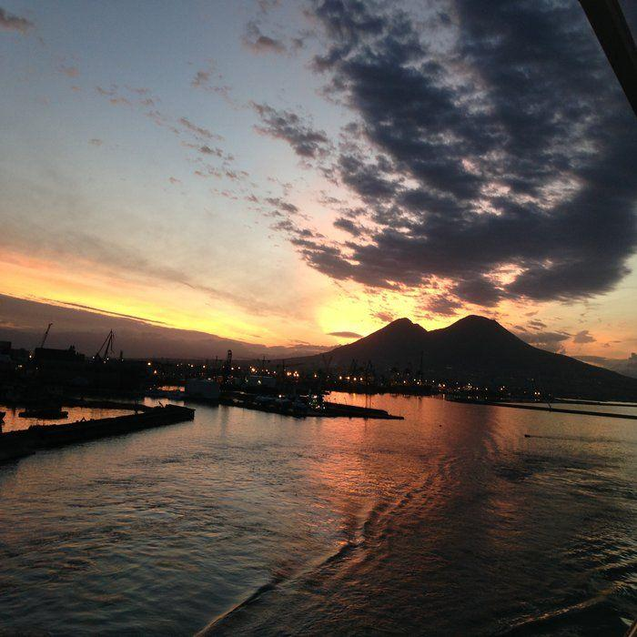 A view of Mount Vesuvius at sunset in Naples from our balcony