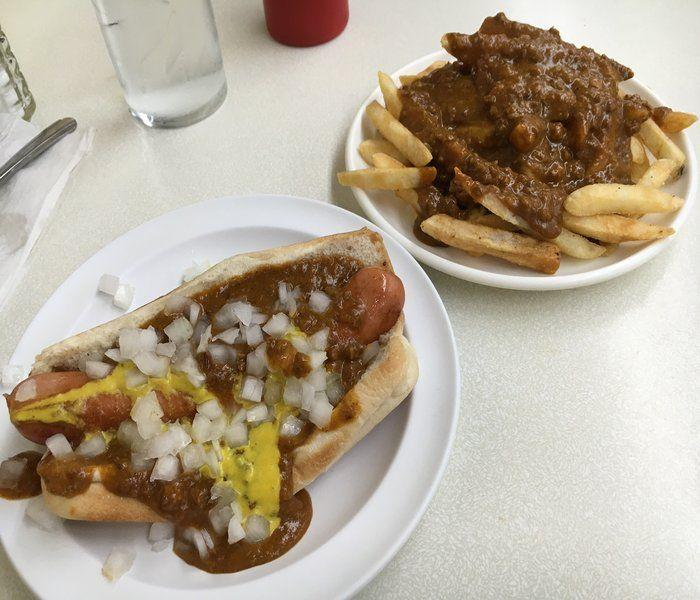 Coney dog and chili fries from Lafayette Coney Island