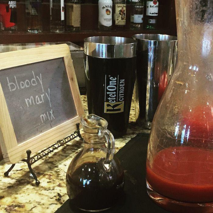 Bloody Mary Mix sign and pitcher