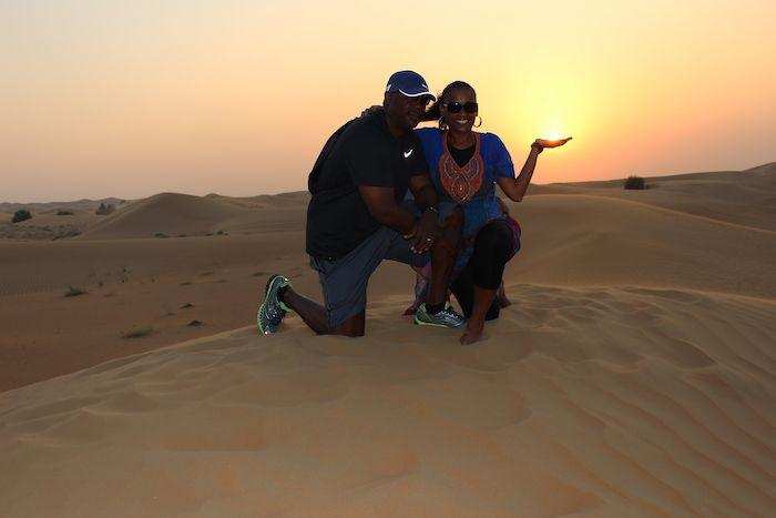 sunset on desert safari in Dubai