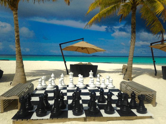 chess board on beach