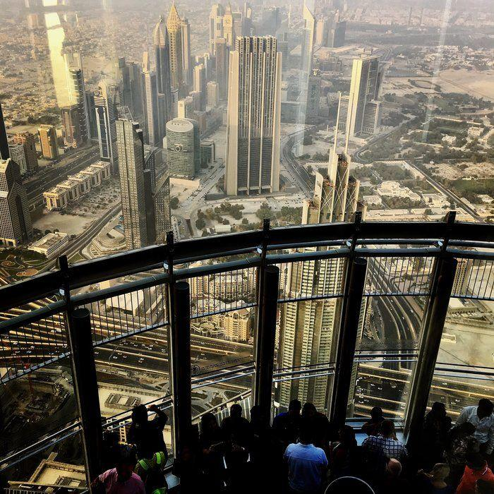 A view from the observatory deck on the 124th floor in Burj Khalifa