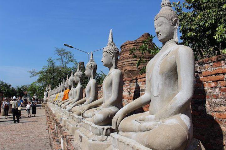 row of stone Buddhas
