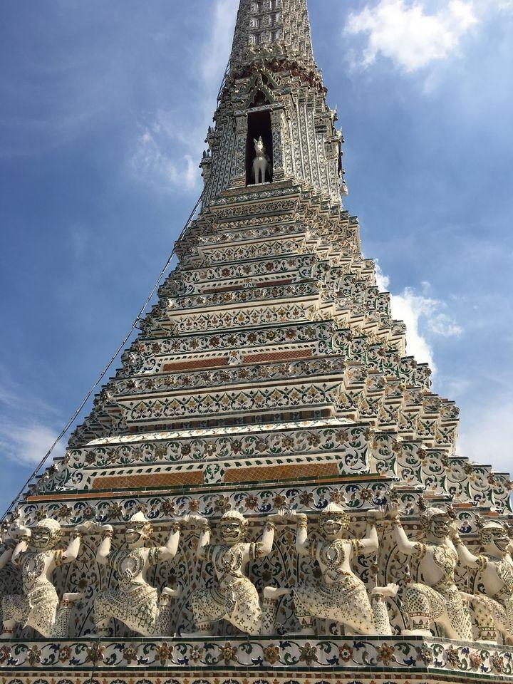 tiles on tower at Wat Arun-Temple of the Dawn