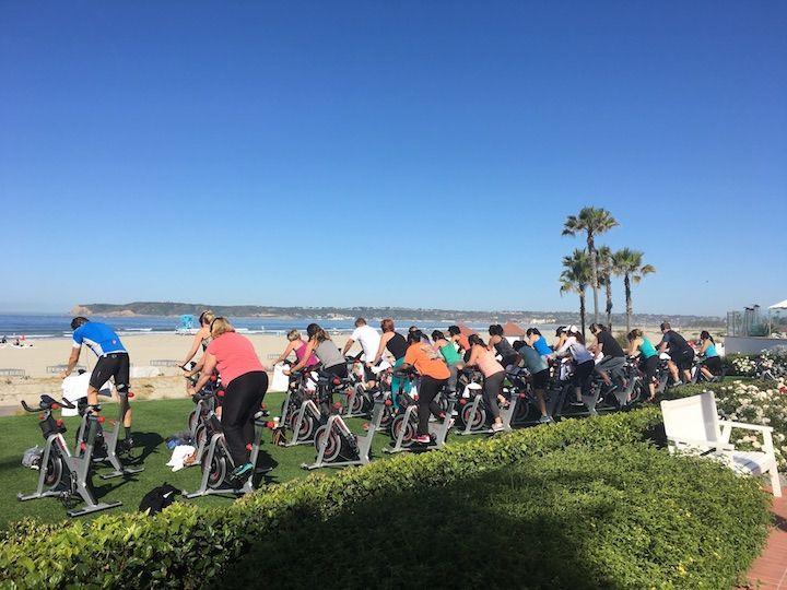 outdoor spin class at Hotel Del Coronado