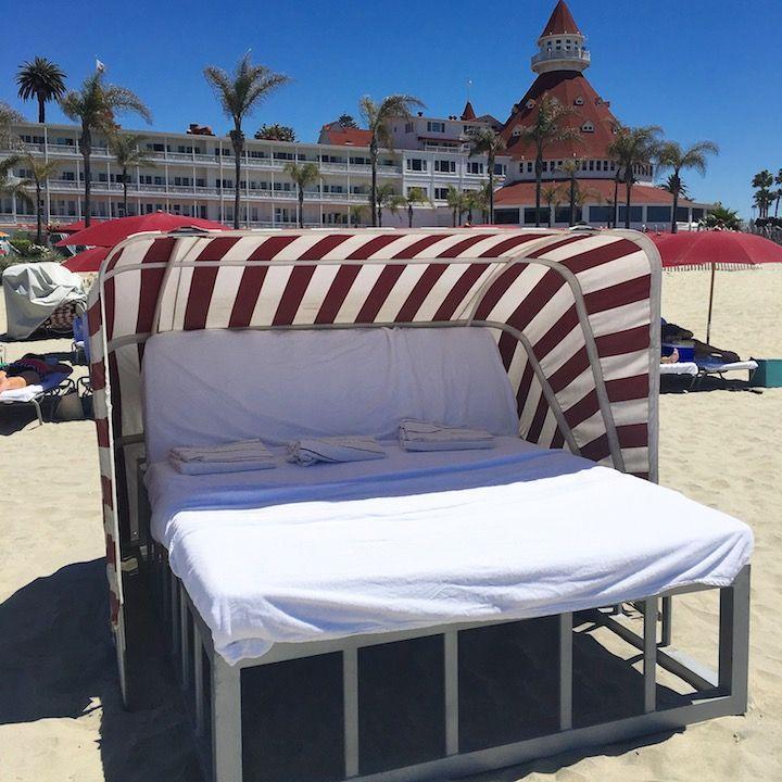 daybed rental on the beach on Coronado Island