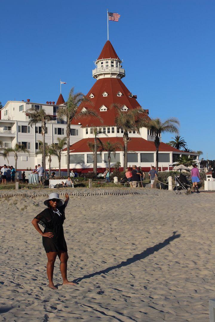 Woman in front of Hotel Del Coronado