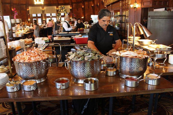 A seafood station at The Crown Room