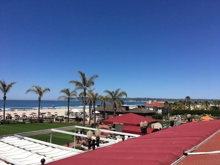 View of palm trees and beach from room at Hotel Del Coronado