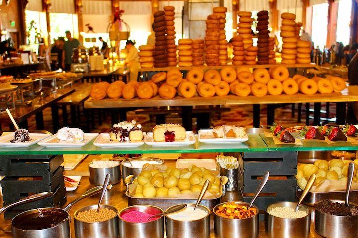A donut station with toppings at The Crown Room