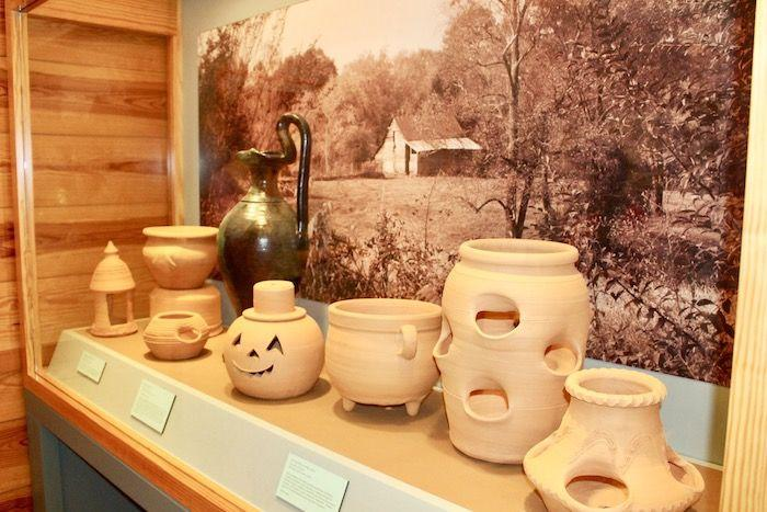 Pottery on display at the Folk Pottery Museum