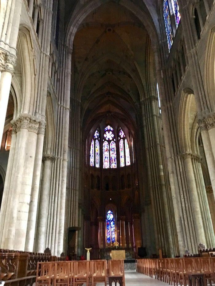The inside of the Notre Dame Cathedral at Reims