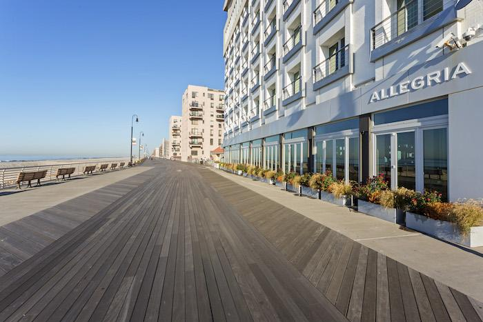 Boardwalk and ocean views from the Allegria Hotel