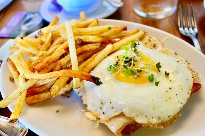 Croque Madame with crispy French fries