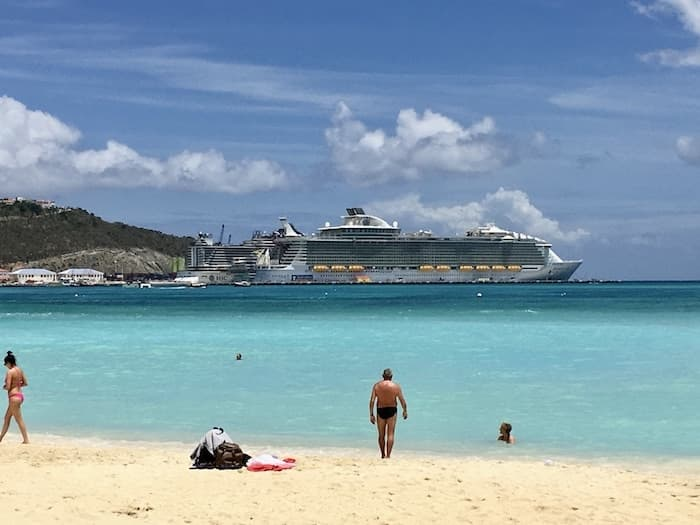 St. Maarten beach with cruise ship in the distance