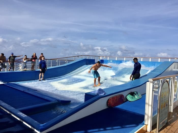 FlowRiders surfing activity on a Royal Caribbean cruise ship