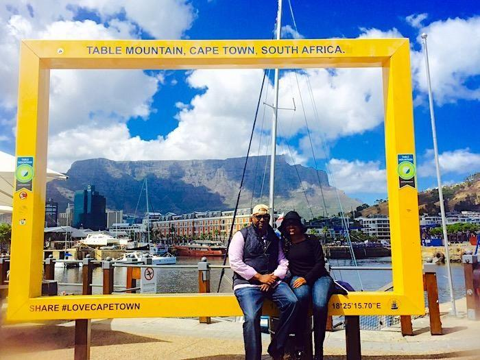 At the V&A Waterfront with Table Mountain in the background