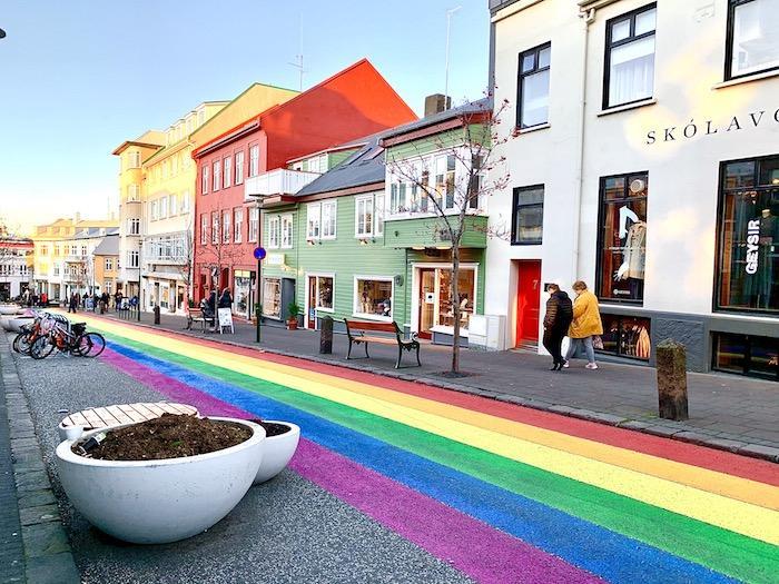 Rainbow street in Reykjavik