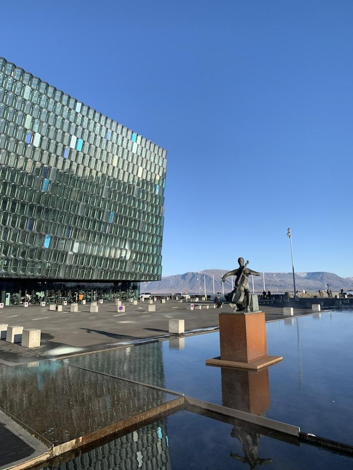 a statue at Harpa Music Hall