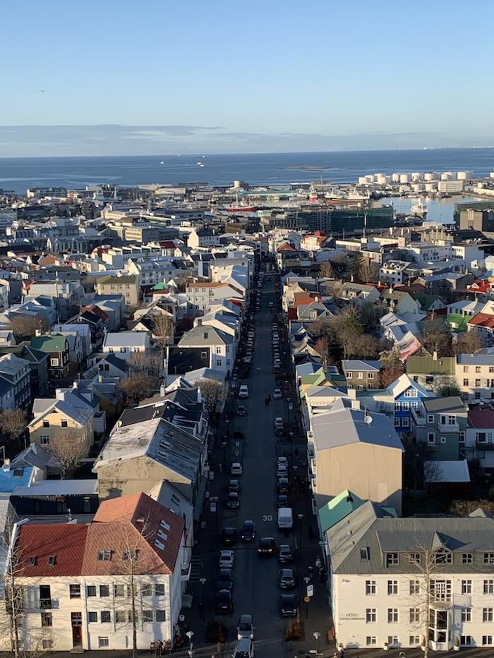 a view of Reykjavik from Hallgrimskirkja Church