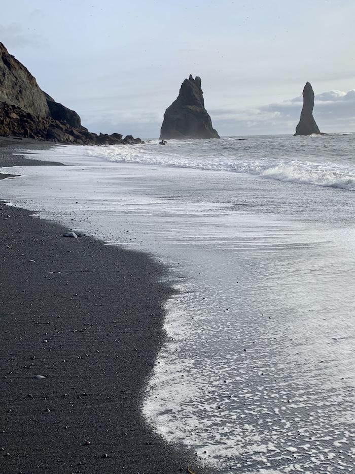 a black sanded beach in Vik